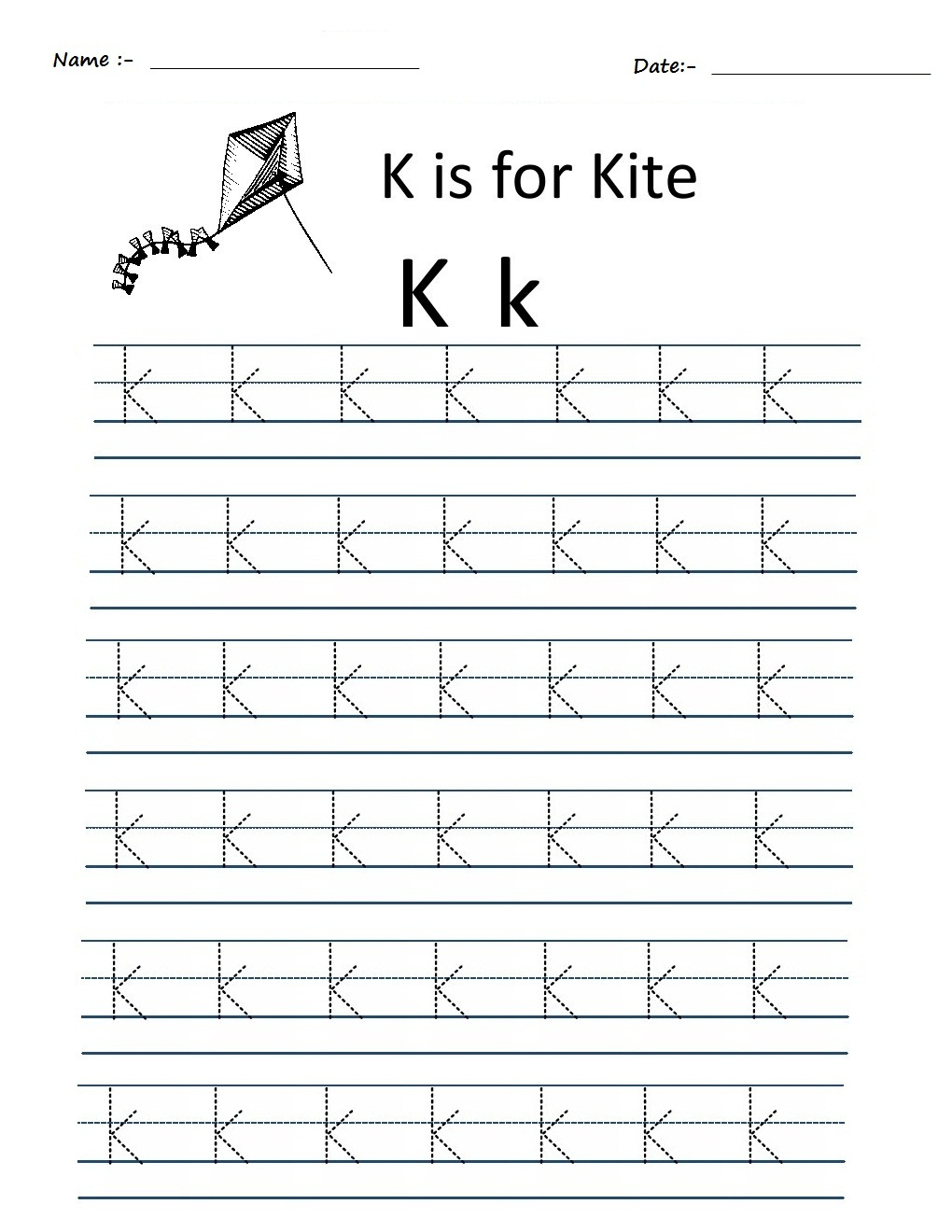 Kindergarten Worksheets: Alphabet Tracing Worksheets - K regarding Alphabet K Tracing