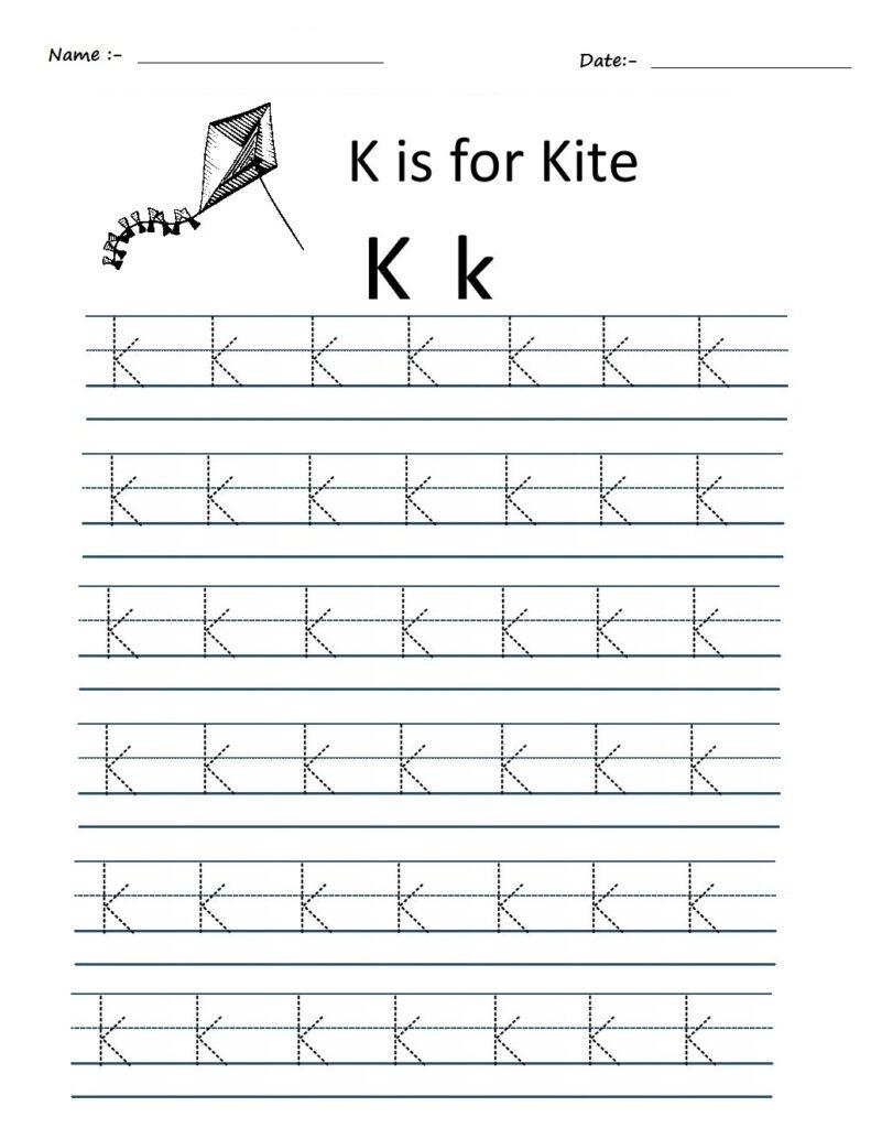 Kindergarten Worksheets: Alphabet Tracing Worksheets   K Throughout K Letter Tracing