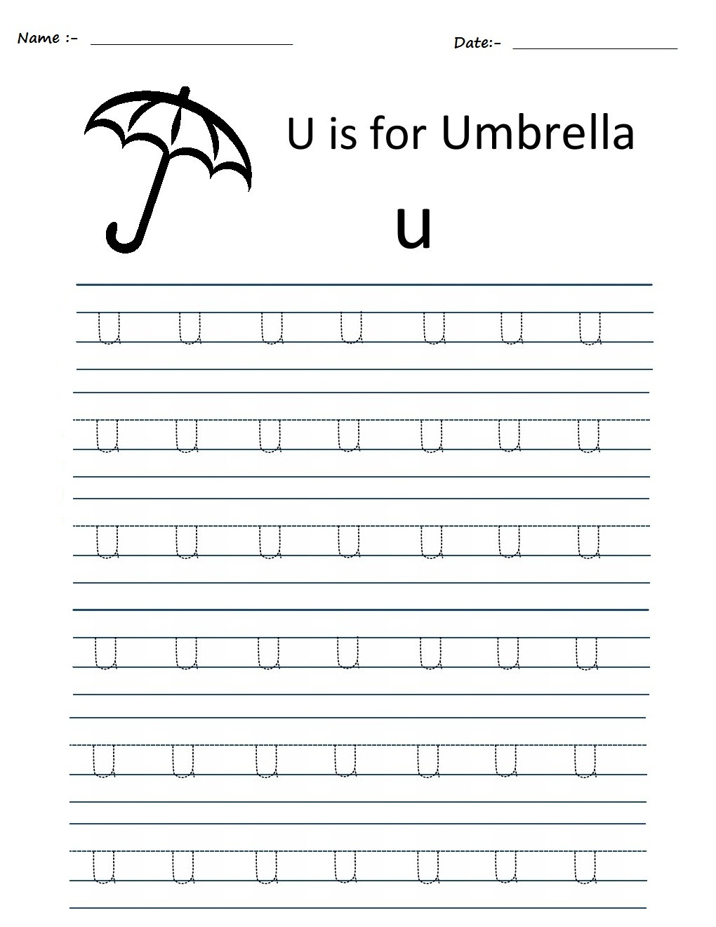 Kindergarten Worksheets: Alphabet Tracing Worksheets - U in Tracing Alphabet U