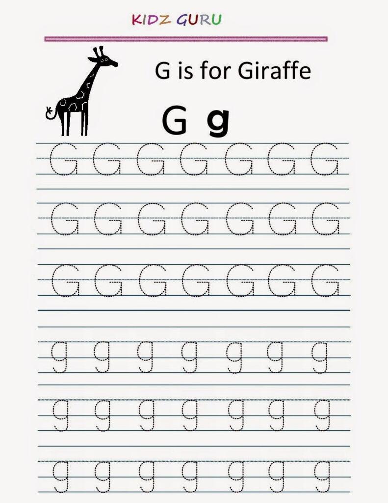 Kindergarten Worksheets: Printable Tracing Worksheet With Regard To Alphabet G Tracing Worksheets