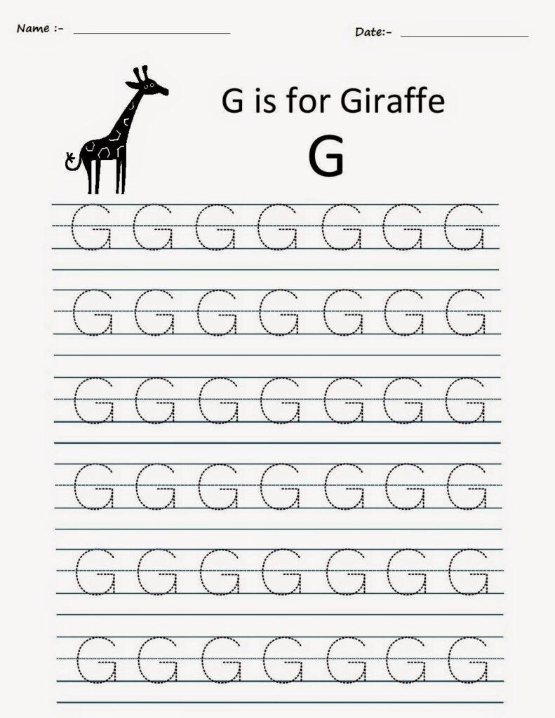 Kindergarten Worksheets: Printable Tracing Worksheets Intended For Alphabet G Tracing Worksheets