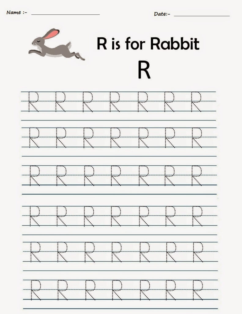 Kindergarten Worksheets: Printable Tracing Worksheets Throughout Alphabet R Tracing