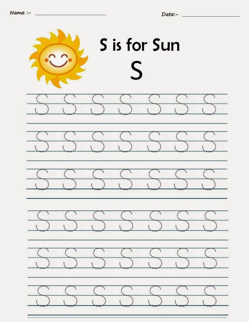 Kindergarten Worksheets: Printable Tracing Worksheets With Alphabet S Tracing