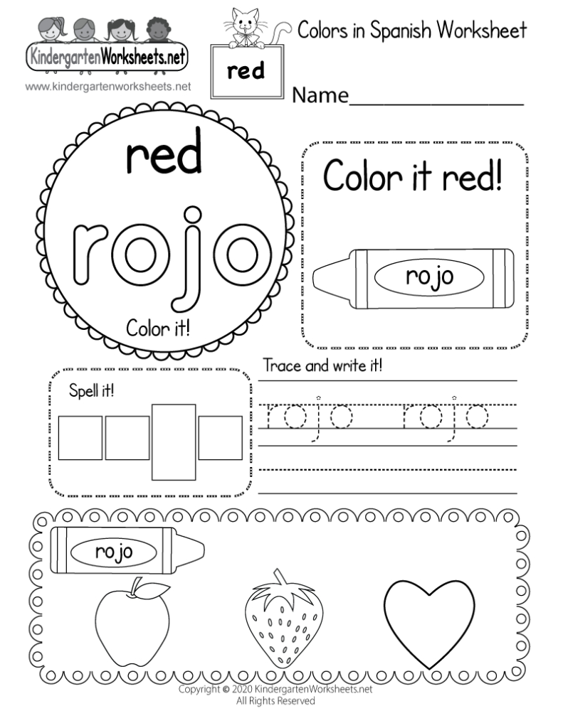 Learn The Color Red In Spanish Worksheet   Free Printable With Alphabet Worksheets In Spanish