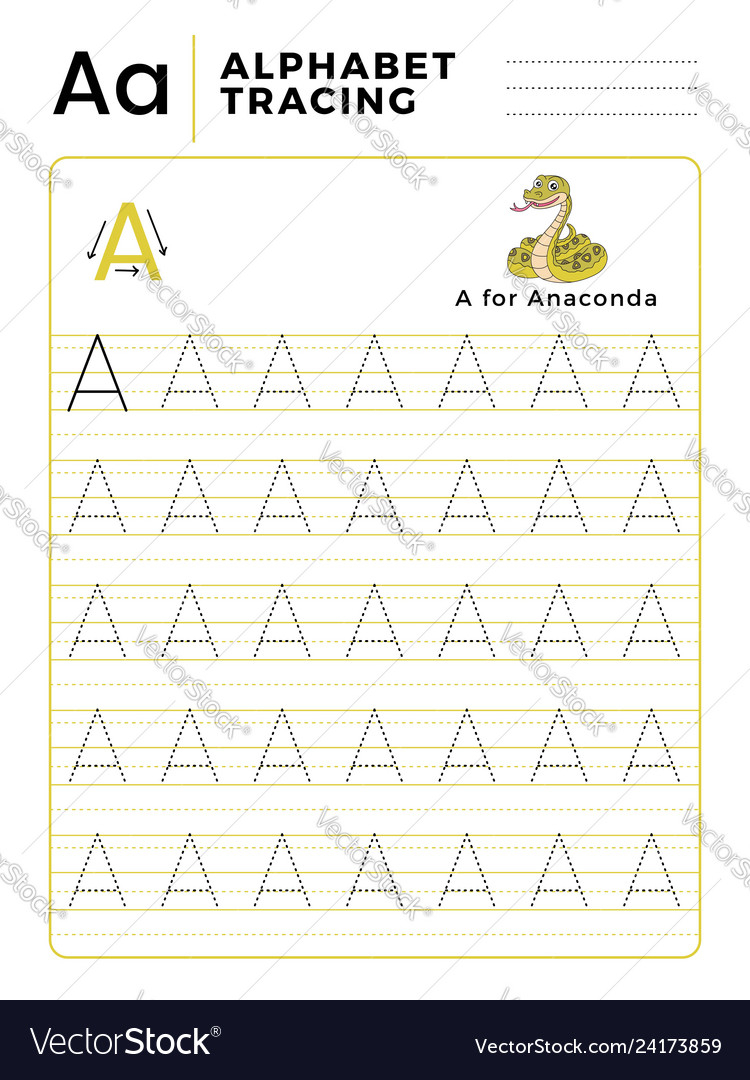 Letter A Alphabet Tracing Book With Example And with regard to Letter Tracing Vector