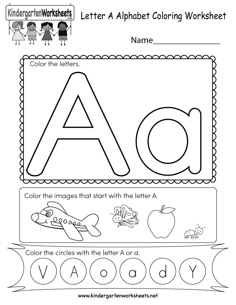 Letter A Coloring Worksheet - Free Kindergarten English within Letter A Worksheets For Kinder