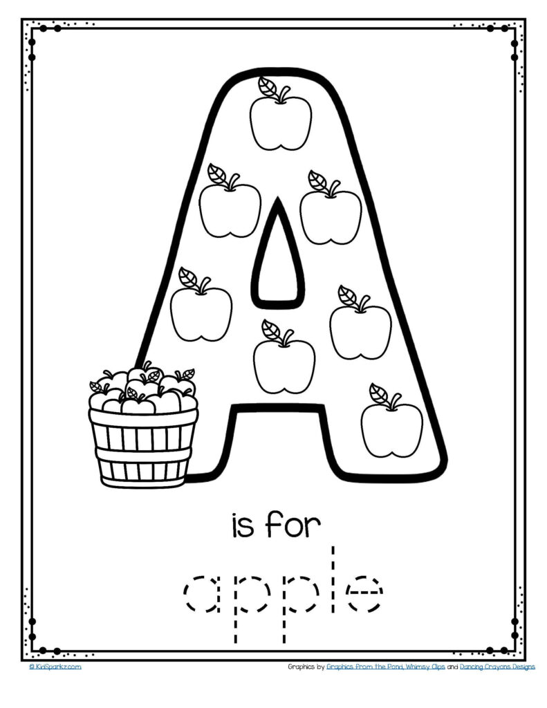 Letter A Is For Apple   Trace And Color Printable Free Pertaining To Alphabet Tracing And Coloring Pages