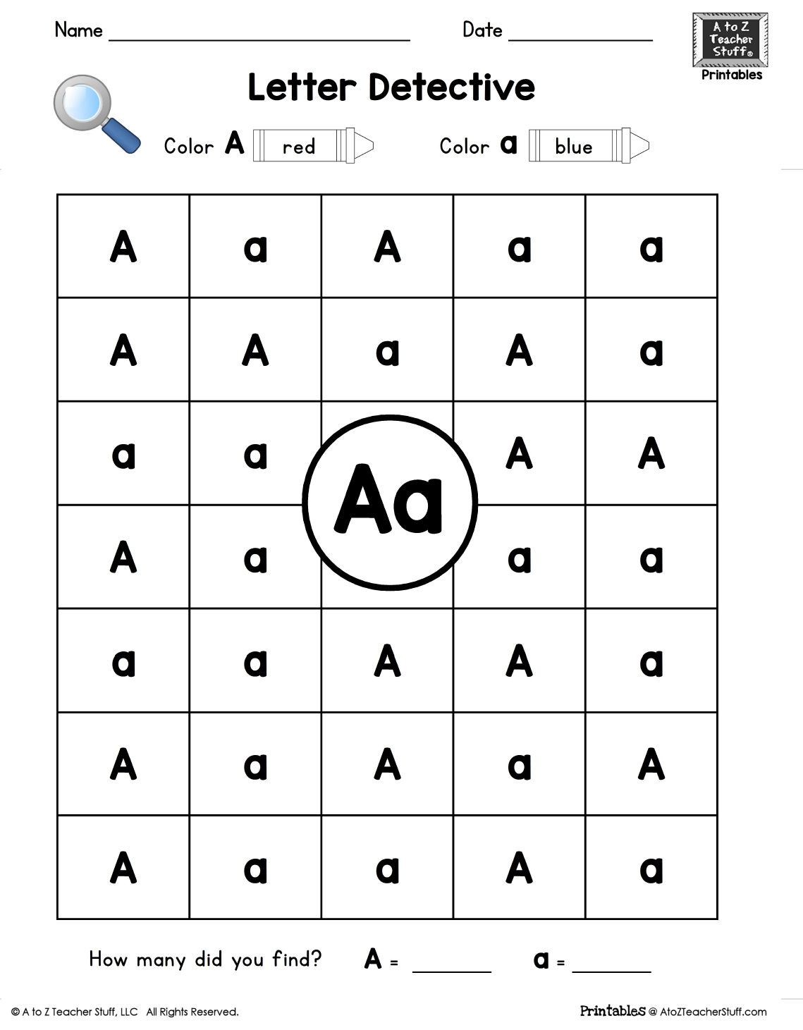 Letter A: Letter Detective Uppercase & Lowercase Visual regarding Letter Id Worksheets