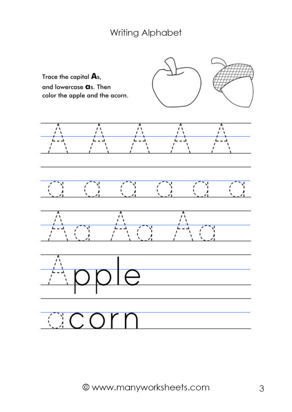 Letter A Worksheet – Tracing And Handwriting with Alphabet Tracing Uppercase And Lowercase