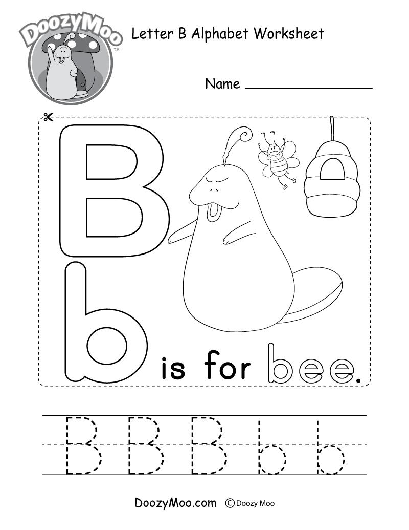 Letter B Alphabet Activity Worksheet - Doozy Moo within Letter B Worksheets For Kindergarten Pdf