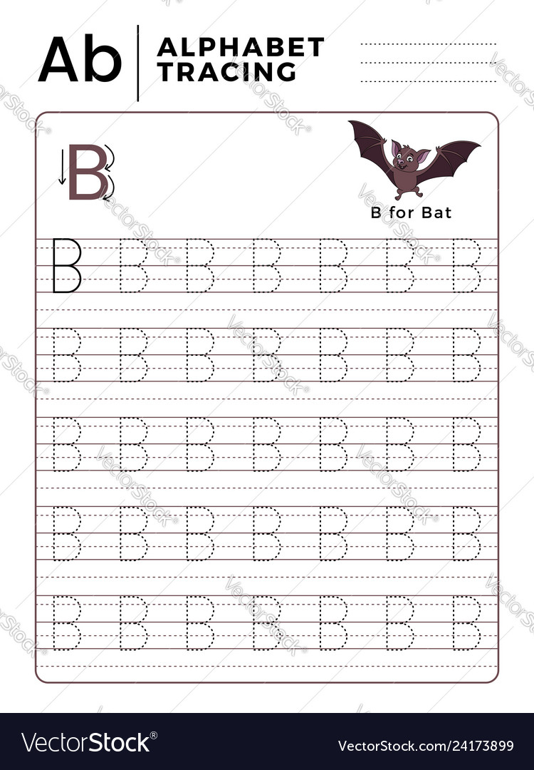 Letter B Alphabet Tracing Book With Example And for Alphabet B Tracing