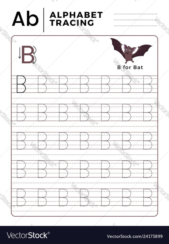 Letter B Alphabet Tracing Book With Example And For Letter B Tracing Sheet