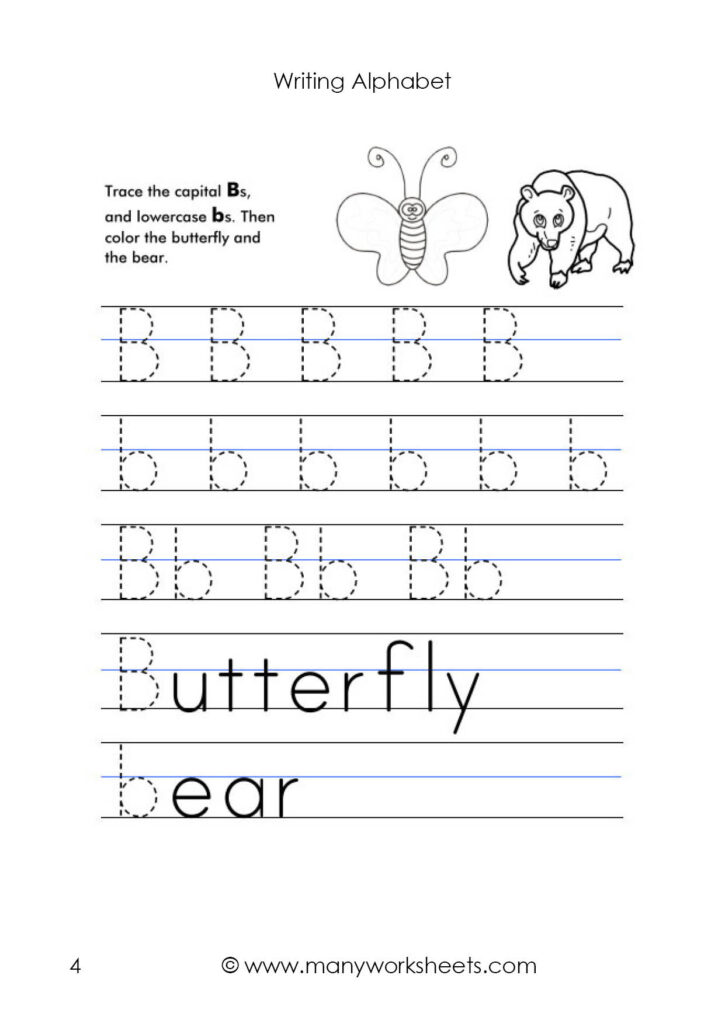 Letter B Worksheet – Tracing And Handwriting Throughout Alphabet Tracing Upper And Lowercase