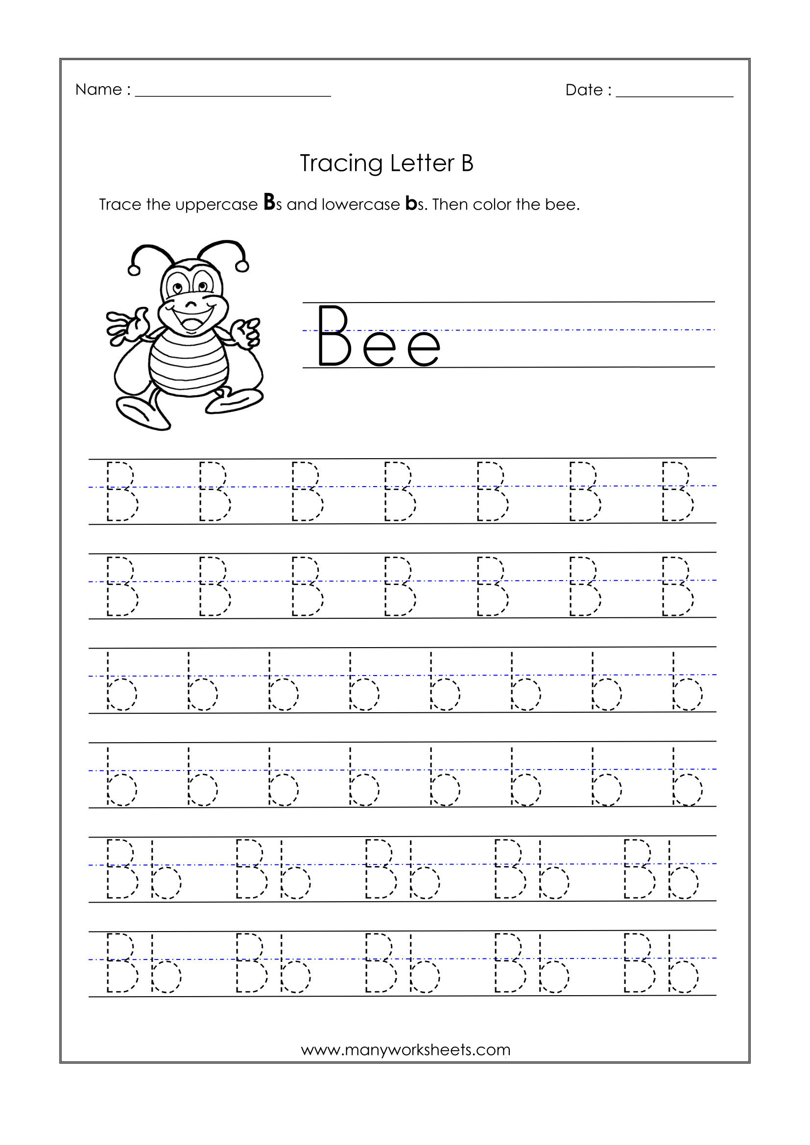Letter B Worksheets For Kindergarten – Trace Dotted Letters within Letter B Worksheets For Kindergarten