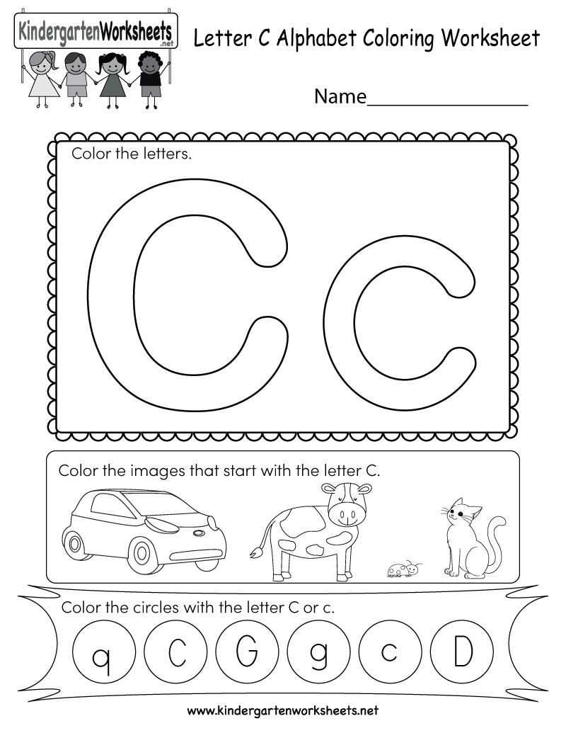Letter C Coloring Worksheet - Free Kindergarten English within Letter C Worksheets For Preschool Pdf