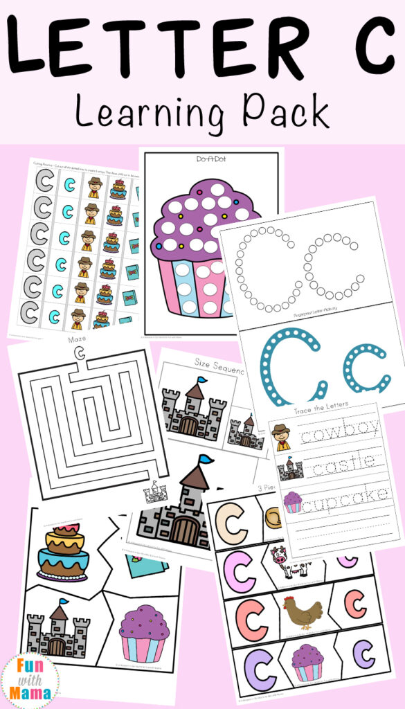 Letter C Worksheets And Printables Pack   Fun With Mama Intended For Letter C Worksheets Cut And Paste