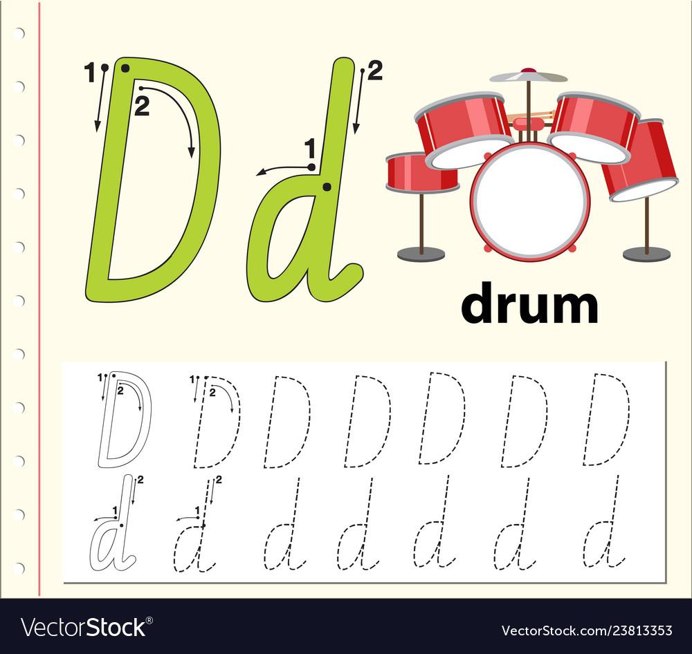 Letter D Tracing Alphabet Worksheets regarding Alphabet Worksheets Letter D