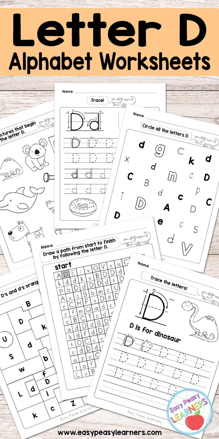 Letter D Worksheets - Alphabet Series - Easy Peasy Learners for Letter D Worksheets Pdf
