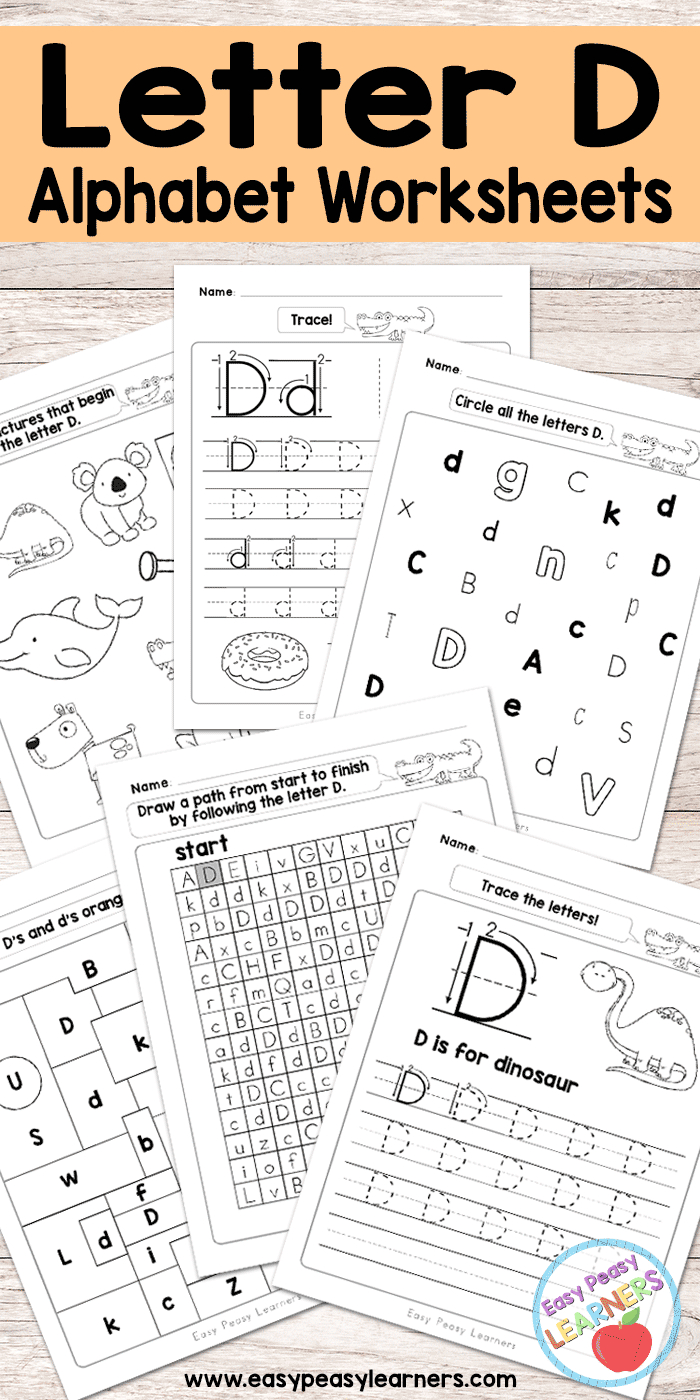 Letter D Worksheets - Alphabet Series - Easy Peasy Learners regarding Letter B Worksheets Cut And Paste