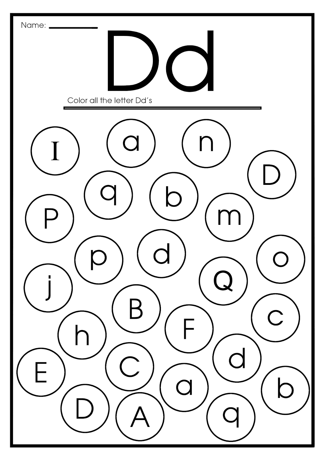 Letter D Worksheets, Flash Cards, Coloring Pages in Letter D Worksheets Printable