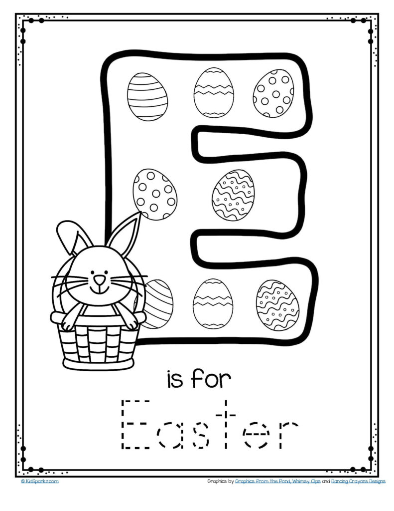 Letter E Is For Easter Trace And Color Printable Free Throughout Letter E Worksheets For Pre K