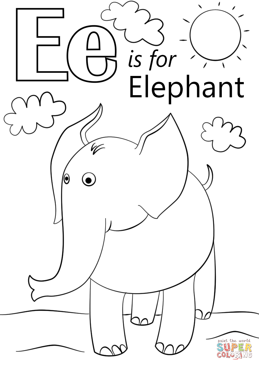 Letter E Is For Elephant Coloring Page | Free Printable inside Letter E Worksheets Coloring