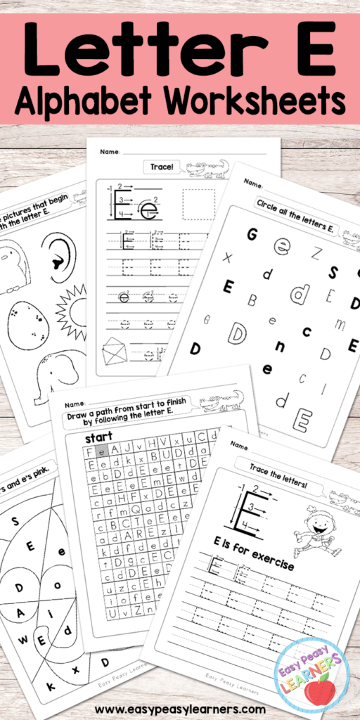 Letter E Worksheets   Alphabet Series   Easy Peasy Learners Throughout Letter E Worksheets Free Printables