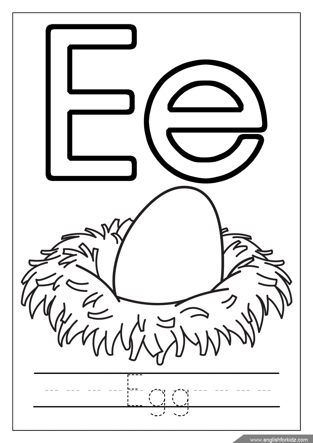 Letter E Worksheets, Flash Cards, Coloring Pages for Letter E Worksheets Coloring
