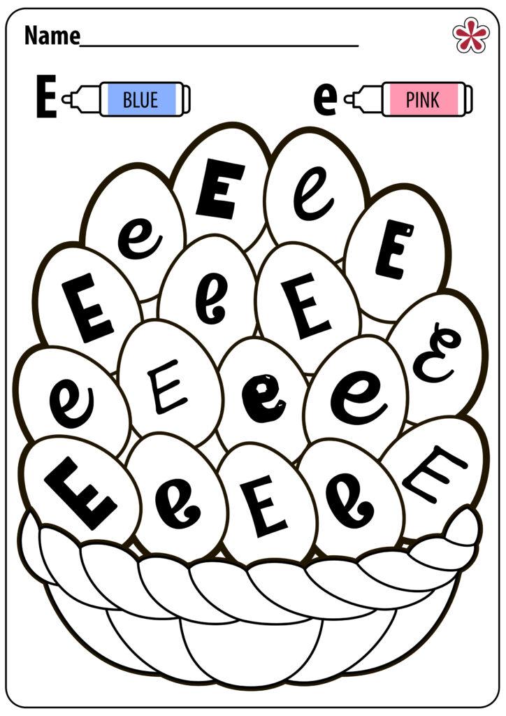 Letter E Worksheets For Kindergarten And Preschool In Letter E Worksheets Coloring