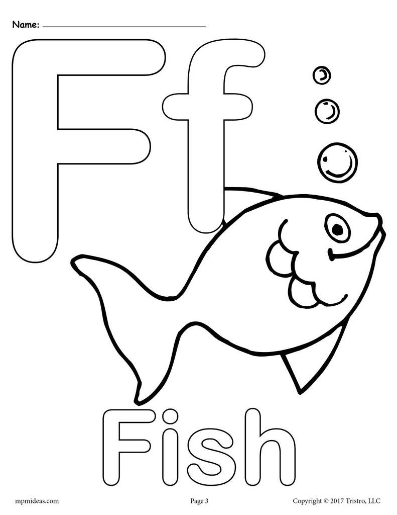 Letter F Alphabet Coloring Pages - 3 Printable Versions within Letter F Worksheets Coloring