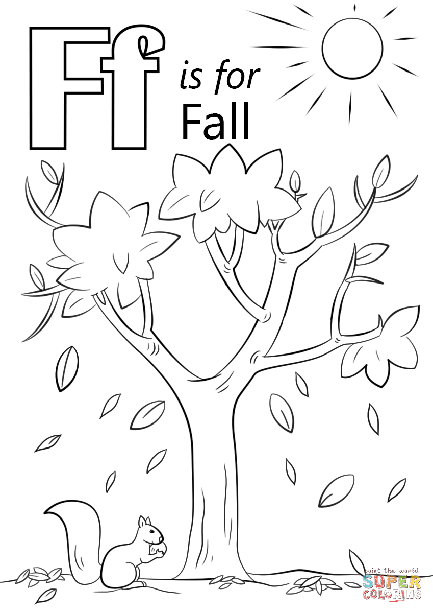 Letter F Is For Fall Coloring Page | Free Printable Coloring throughout Letter F Worksheets Coloring