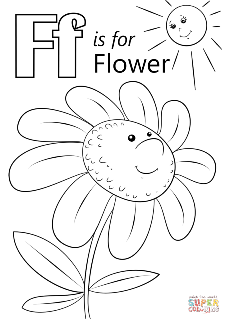 Letter F Is For Flower Coloring Page | Free Printable Intended For Letter F Worksheets Coloring