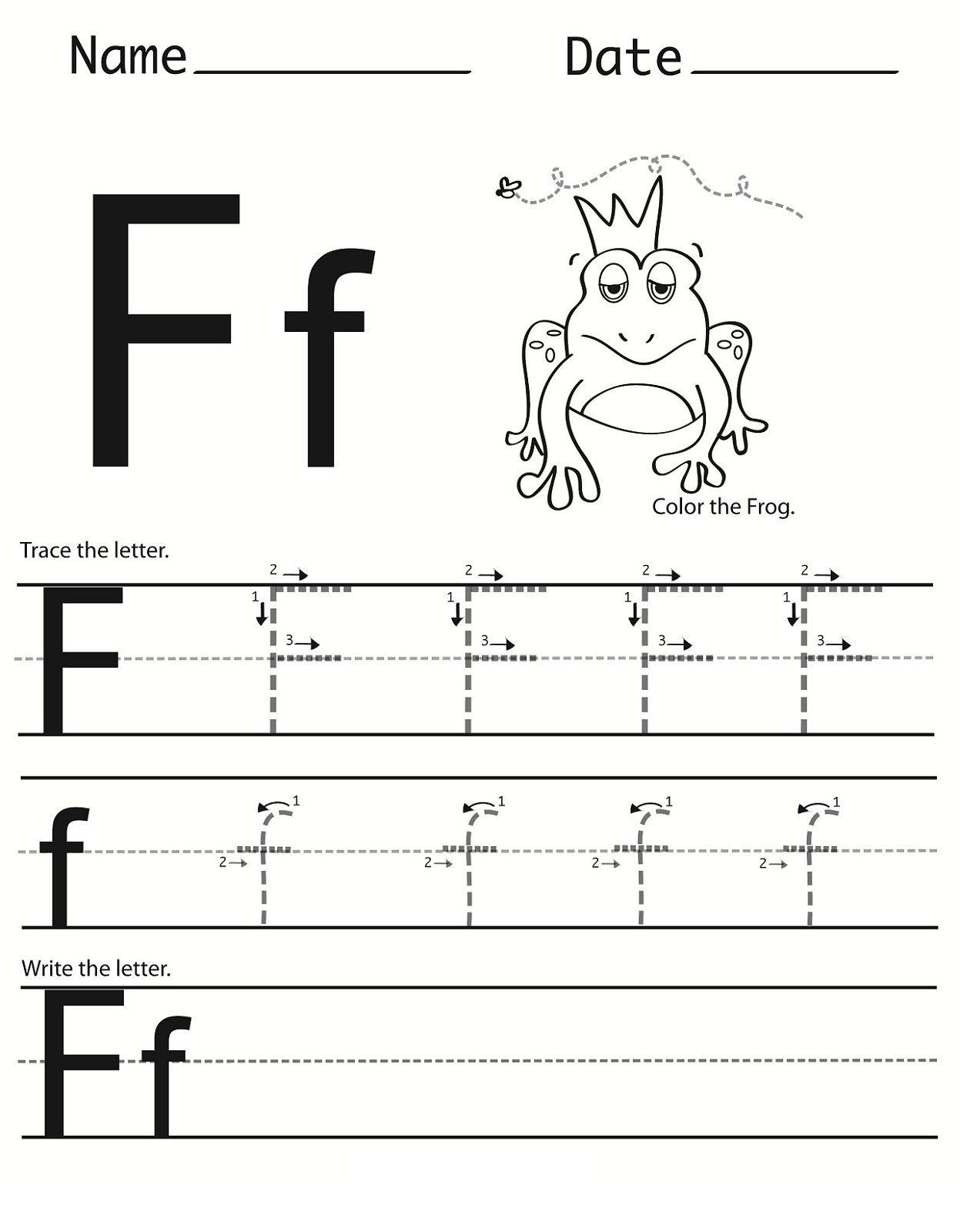 Letter F Worksheet For Preschool And Kindergarten with Letter F Tracing Worksheets Preschool