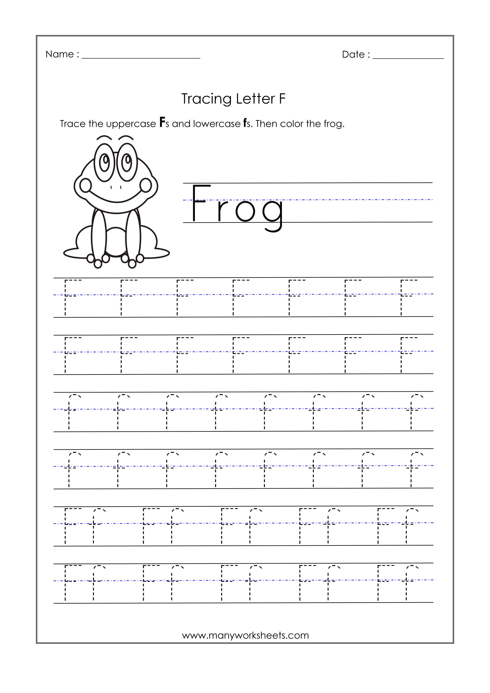 Letter F Worksheets For Kindergarten – Trace Dotted Letters inside Letter F Tracing Worksheets