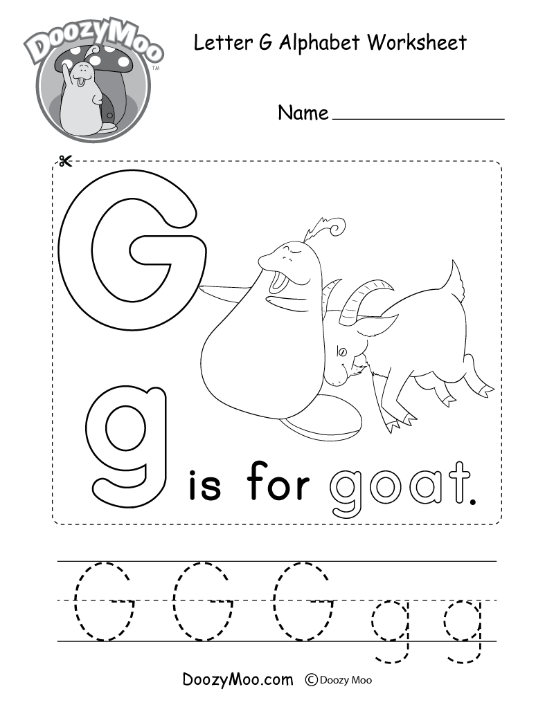 Letter G Alphabet Activity Worksheet - Doozy Moo for Letter G Tracing Sheet