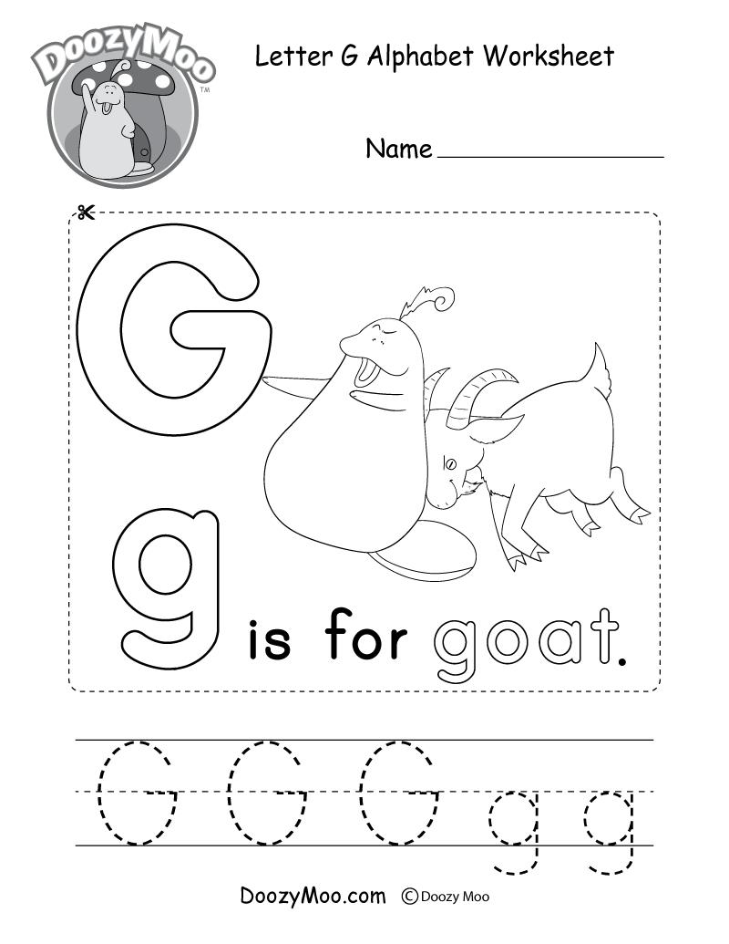 Letter G Alphabet Activity Worksheet - Doozy Moo with Letter G Worksheets For Kindergarten Pdf