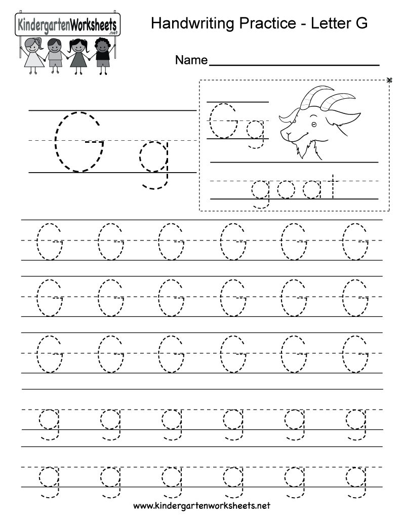 Letter G Writing Practice Worksheet - Free Kindergarten throughout Letter G Tracing Page