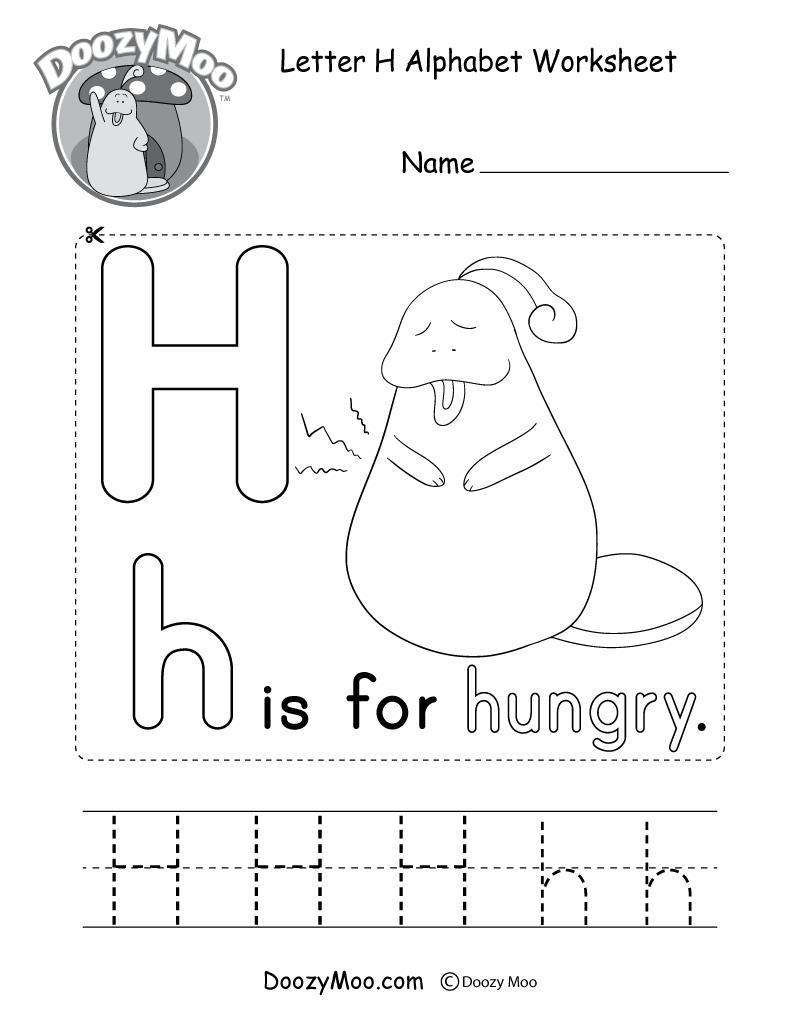 Letter H Alphabet Activity Worksheet - Doozy Moo with Letter H Worksheets Activity