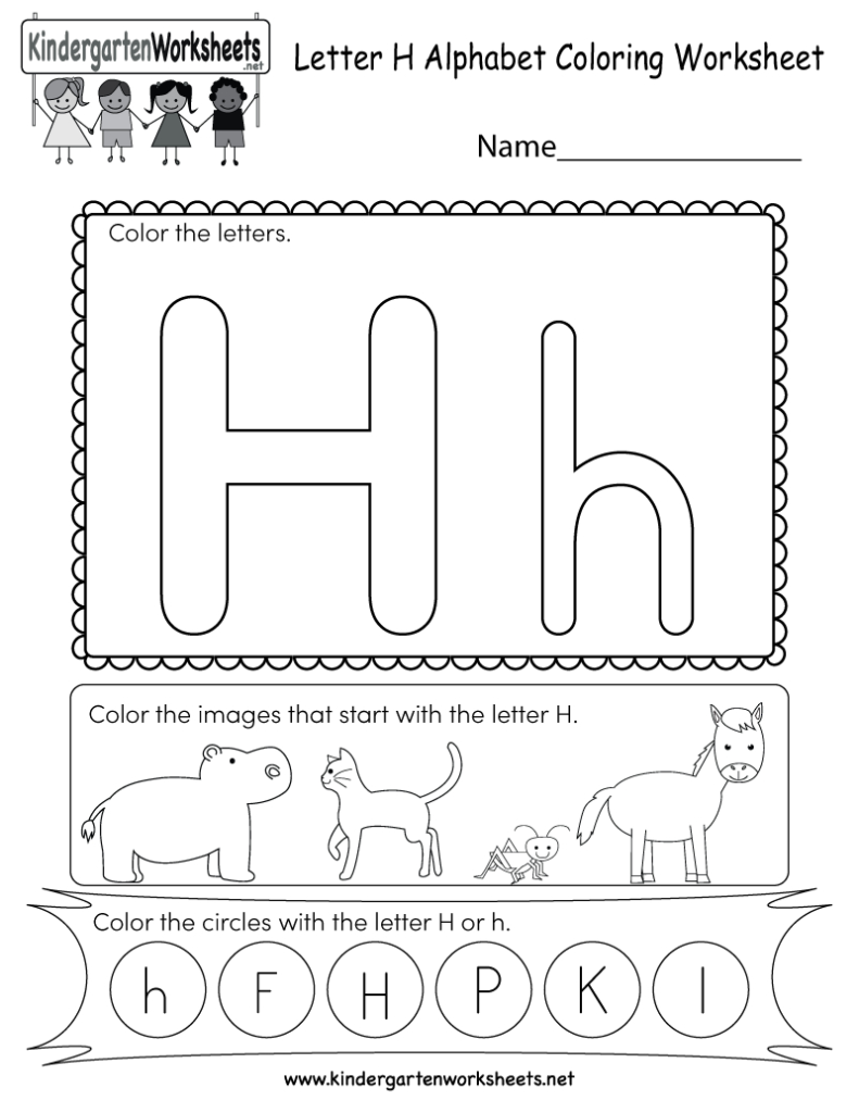 Letter H Coloring Worksheet   Free Kindergarten English Pertaining To Letter H Worksheets Activity