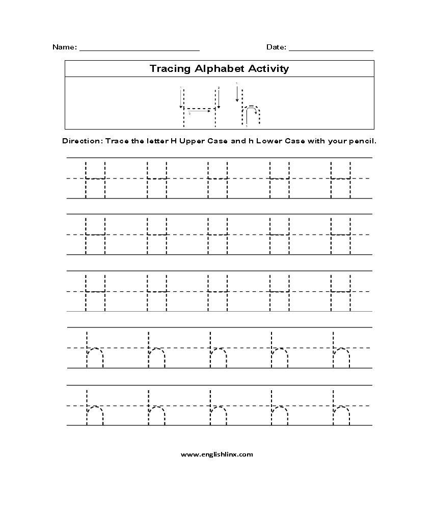 Letter H Tracing Alphabet Worksheets | Alphabet, Alphabet with Letter H Tracing Page