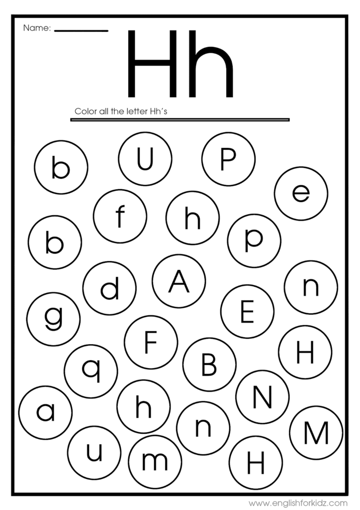 Letter H Worksheets, Flash Cards, Coloring Pages Inside Letter H Worksheets Printable