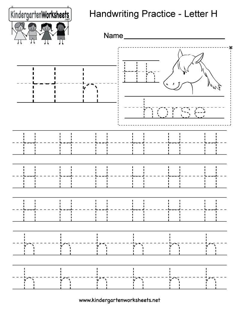 Letter H Writing Practice Worksheet - Free Kindergarten intended for Letter H Worksheets Printable