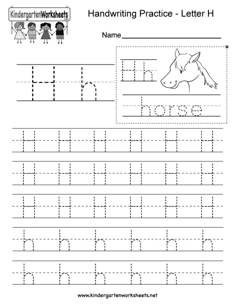 Letter H Writing Practice Worksheet   Free Kindergarten Intended For Letter Tracing H