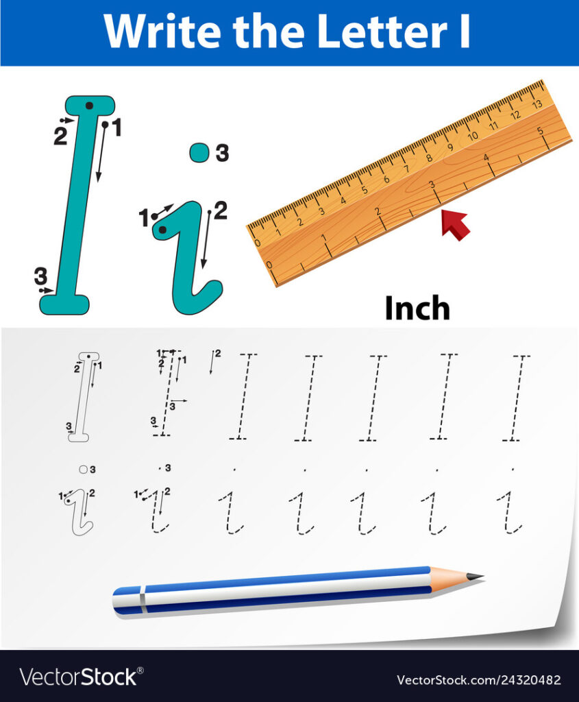 Letter I Tracing Alphabet Worksheets With Letter Tracing Ruler