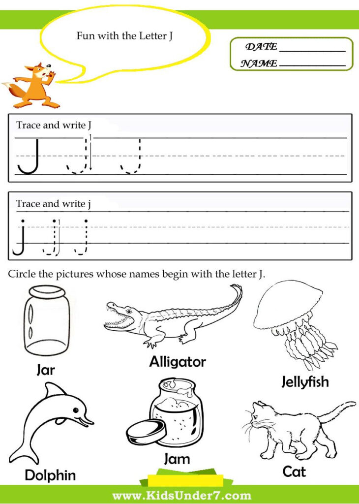 Letter J Tracing Worksheets Preschool | Alphabet Preschool For Letter J Tracing Page