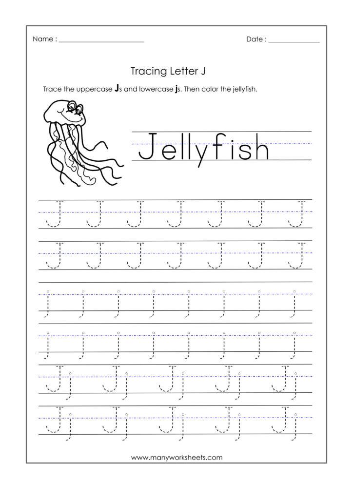 Letter J Worksheets For Kindergarten – Trace Dotted Letters For J Letter Tracing
