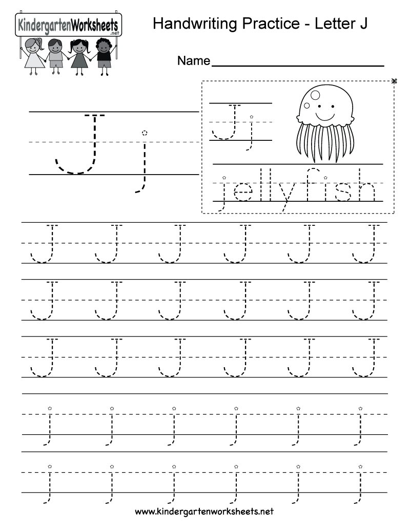 Letter J Writing Practice Worksheet - Free Kindergarten intended for Letter P Tracing Page