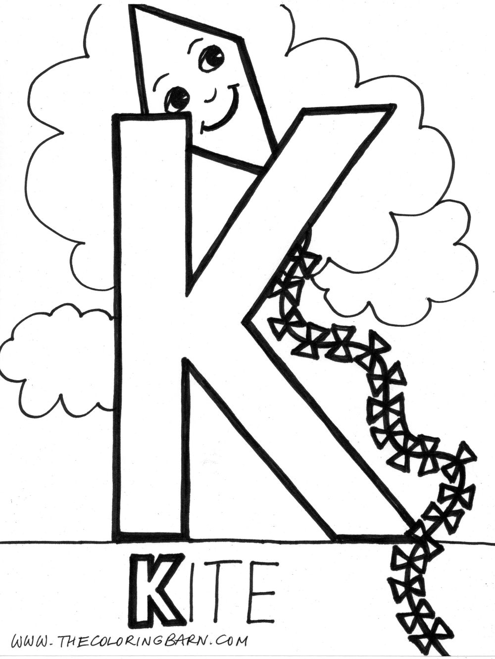 Letter K Coloring Page - Coloring Home with Letter K Worksheets Twisty Noodle