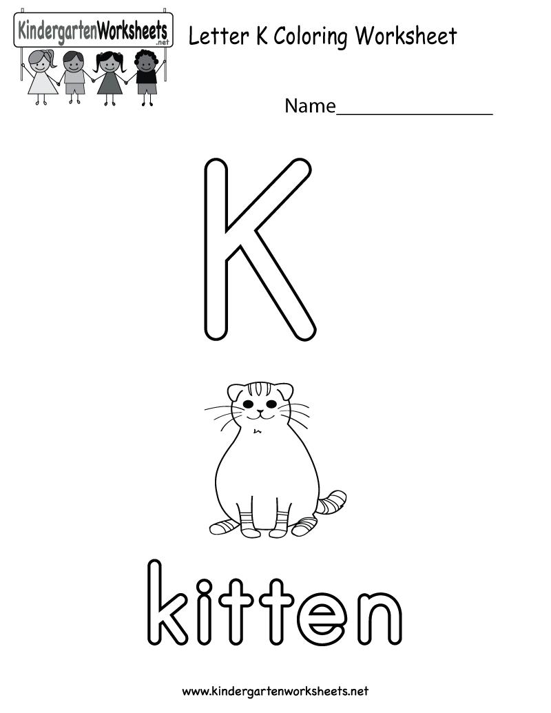 Letter K Coloring Worksheet For Preschoolers Or with Letter K Worksheets For Toddlers