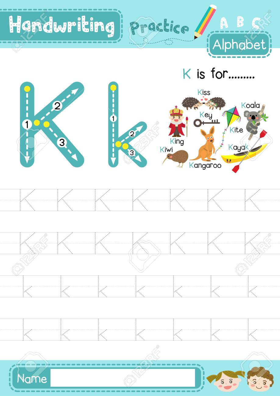 Letter K Uppercase And Lowercase Cute Children Colorful Abc Alphabet.. throughout Alphabet Tracing Upper And Lowercase